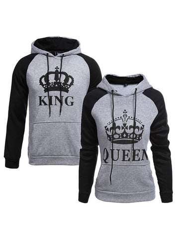 KING Queen Crown Print Unisex Men Women Autumn Hoodies Slim Sweatshirt for Couple Lovers Winter Patchwork Hooded Pullovers