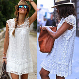 ByChicStyle Casual Women's Sexy White Flower Lace O-neck Sleeveless Club Summer Mini Dress
