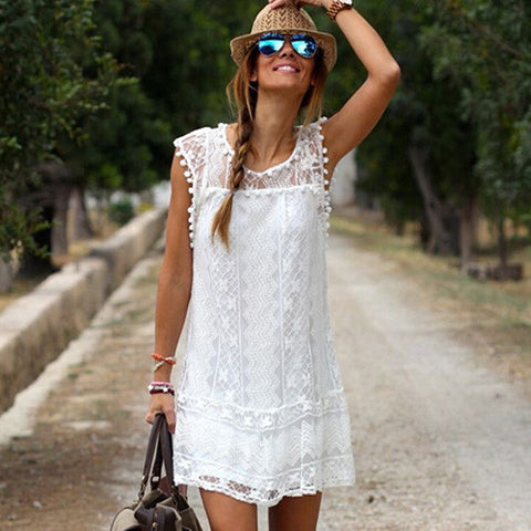 Casual Women's Sexy White Flower Lace O-neck Sleeveless Club Summer Mini Dress