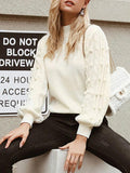 ByChicStyle Women White Knitted Sweater Autumn Winter Top Lantern Sleeve Kintwear Jumper Fashion Female Oversized Pullover Sweater