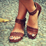 ByChicStyle Sandals - Retro Ankle Strap Back Zipper Sandals