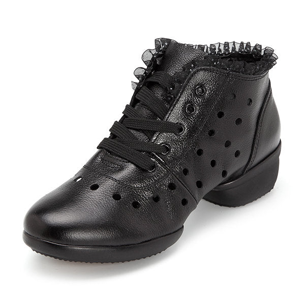 Casual Leather Lace Breathable Hollow Out Soft Sole Casual Shoes