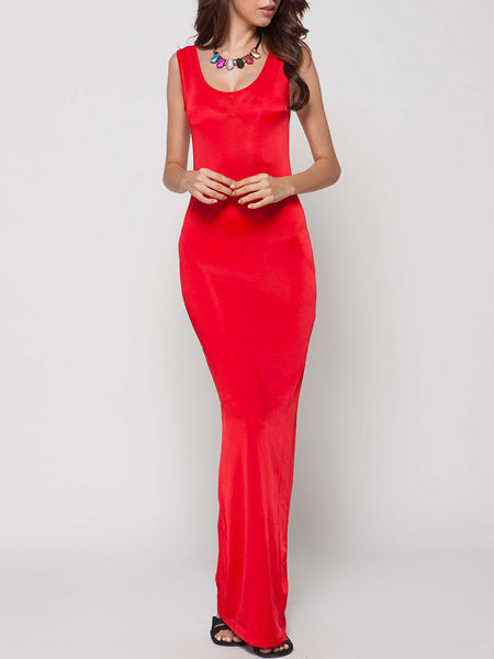 Sexy&comfortable Round Neck Plain Maxi-dre - Bychicstyle.com