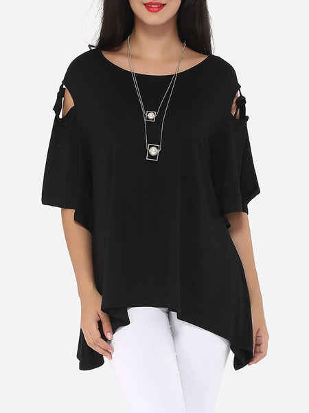 Hollow Out Plain Asymmetrical Hems Exquisite Round Neck Short-sleeve-t-shirt - Bychicstyle.com