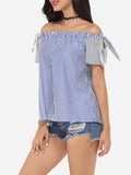 ByChicStyle Bowknot Off Shoulder Dacron Striped Short-sleeve-t-shirt - Bychicstyle.com