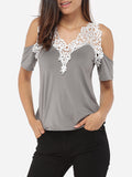 ByChicStyle V Neck Dacron Hollow Out Short-sleeve-t-shirt - Bychicstyle.com