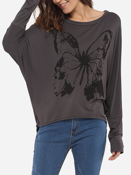 Loose Fitting Round Neck Dacron Printed Long-sleeve-t-shirt - Bychicstyle.com