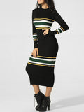 ByChicStyle High Neck Striped Maxi Dress - Bychicstyle.com