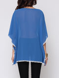 ByChicStyle Hollow Out Lace Batwing Designed Round Neck Blouse - Bychicstyle.com
