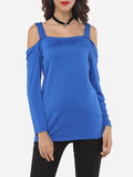 ByChicStyle Plain Modern Off Shoulder Long-sleeve-t-shirt - Bychicstyle.com