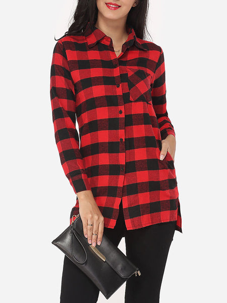Casual Plaid Loose Fitting Exquisite Button Down Collar Blouse