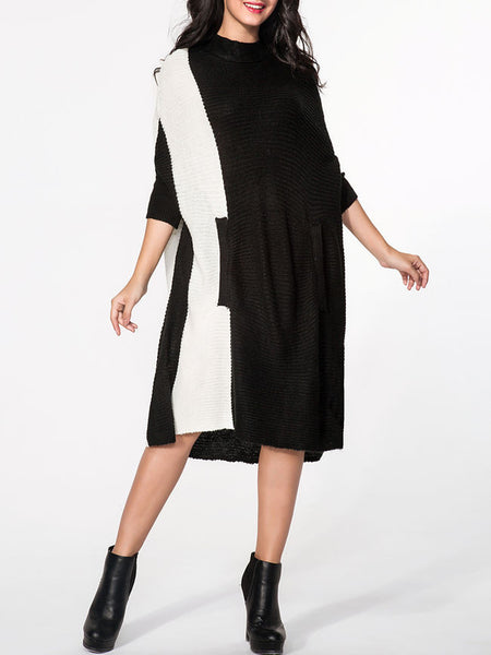 High Neck Batwing Sleeve Loose Fitting Color Block Sweater - Bychicstyle.com