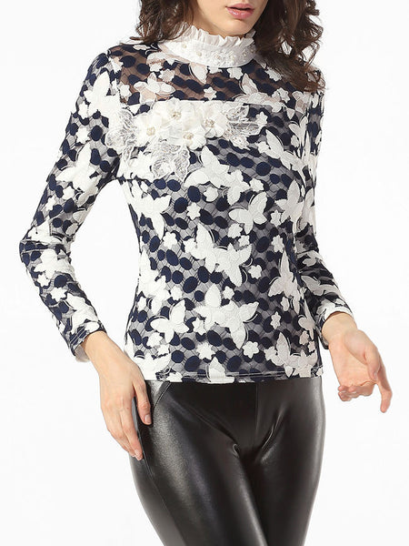 High Neck Beading Lace Floral Printed Mesh Patchwork Blouse - Bychicstyle.com