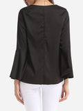 ByChicStyle Plain Loose Fitting Mandarin Sleeve Courtly V Neck Blouse - Bychicstyle.com