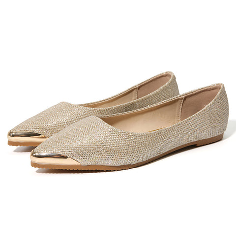 Casual Large Size Ponited Toe Slip On Sequined Flat Casual Shoes
