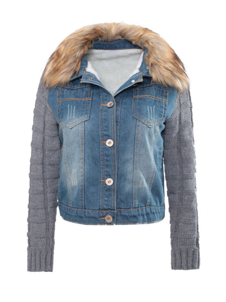 Fur Collar Single Breasted Patchwork Ripped coat - Bychicstyle.com