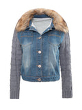 ByChicStyle Fur Collar Single Breasted Patchwork Ripped coat - Bychicstyle.com
