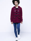 ByChicStyle Hooded Flap Pocket Single Breasted Plain Woolen Coat - Bychicstyle.com