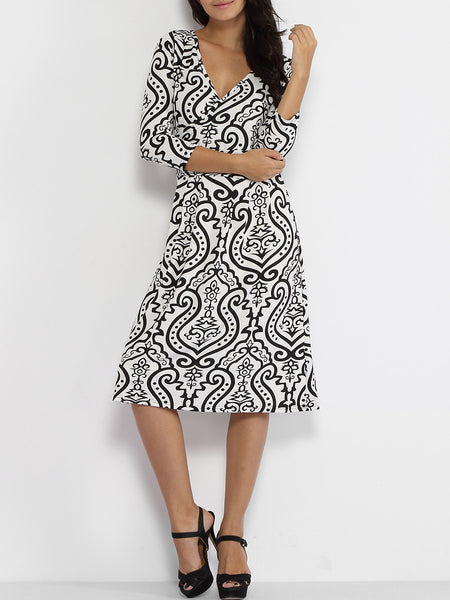 Casual Deep V-neck Paisley Skater-dress