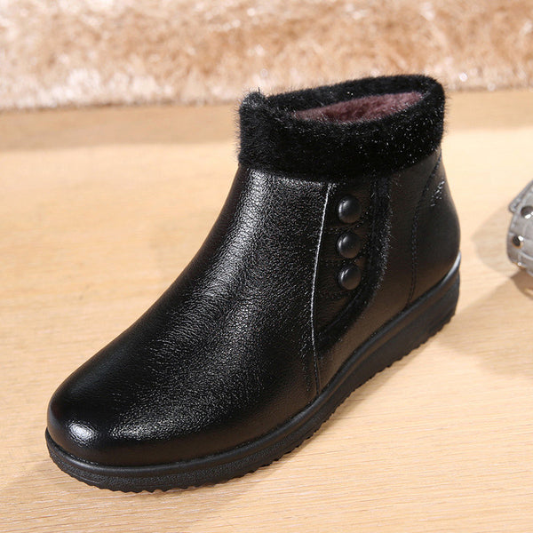 Casual Button Black Folded Work Casual Ankle Flat Boots For Women