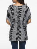 ByChicStyle Casual Round Neck Dacron Zigzag Striped Blouse