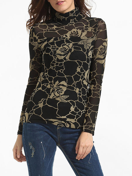 High Neck Dacron Color Block Floral Printed Seethrough Long-sleeve-t-shirt - Bychicstyle.com