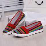 ByChicStyle Casual Rainbow Stripe Canvas Flat Slip On Loafers For Women