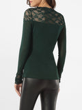 ByChicStyle V Neck Hollow Out Lace Patchwork Plain Blouse - Bychicstyle.com