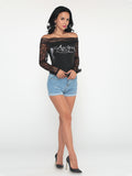 ByChicStyle Hollow Out Patchwork Printed Sexy Round Neck Long-sleeve-t-shirt - Bychicstyle.com