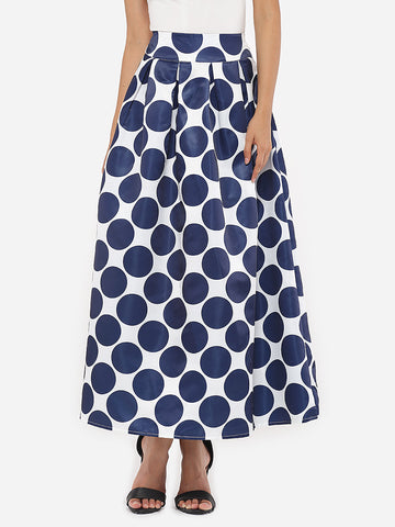 Dacron Polka Dot Printed Maxi-skirt - Bychicstyle.com