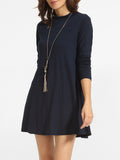 ByChicStyle High Neck Plain Shift-dress - Bychicstyle.com