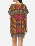 ByChicStyle Bohemian Printed Vintage Loose Fitting V Neck Shift Dress - Bychicstyle.com