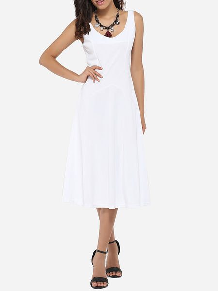 Scoop Neck Dacron Plain Skater-dress - Bychicstyle.com