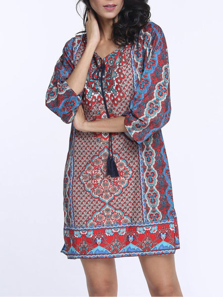 Bohemian Fantastic V Neck Shift Dress - Bychicstyle.com