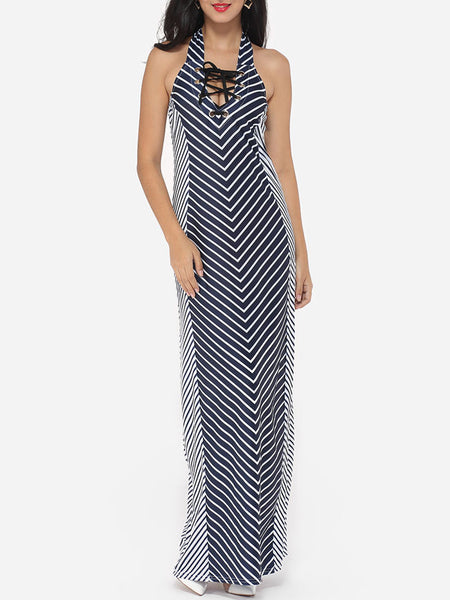 Cross Straps Halter Dacron Stripes Maxi Dress - Bychicstyle.com