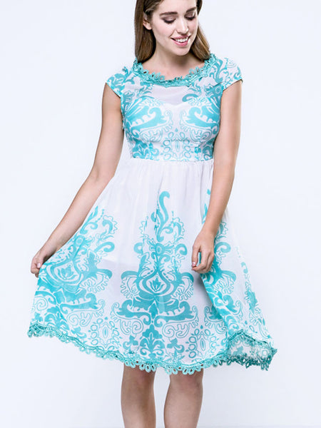 Patchwork Printed Elegant Round Neck Skater Dress - Bychicstyle.com