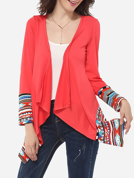 Casual Asymmetrical Hems Collarless Cotton Tribal Printed Overcoat