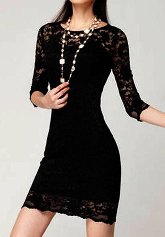 All Black Slim Lace 2-in-1 Half Sleeve Wave Edge Sweetheart Cocktail Party Fashion Mini Dress