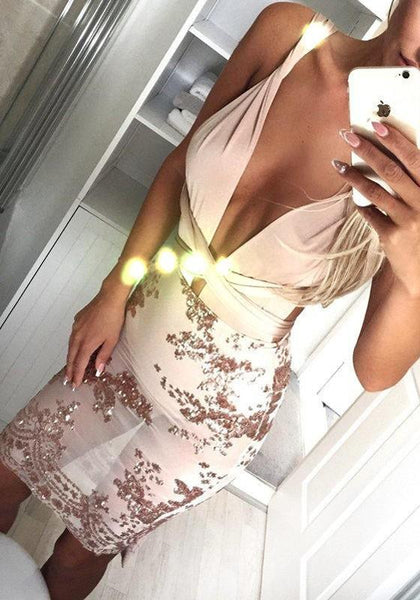 Streetstyle  Casual Apricot 2-in-1 Sequin Cross Back Deep V-neck See-through Multi Way Mini Dress