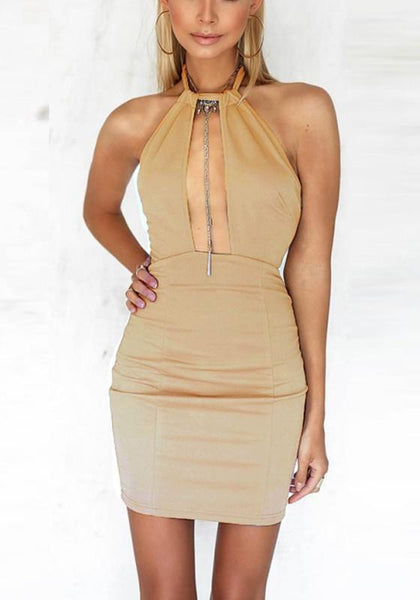 Streetstyle  Casual Apricot Cut Out Zipper Tie Back Round Neck Mini Dress