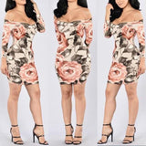 Streetstyle  Casual Apricot Floral Boat Neck Long Sleeve Mini Dress