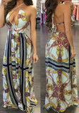 ByChicStyle Casual Apricot Flowers Print Halter Neck Tie Back Bohemian Beach Maxi Dress