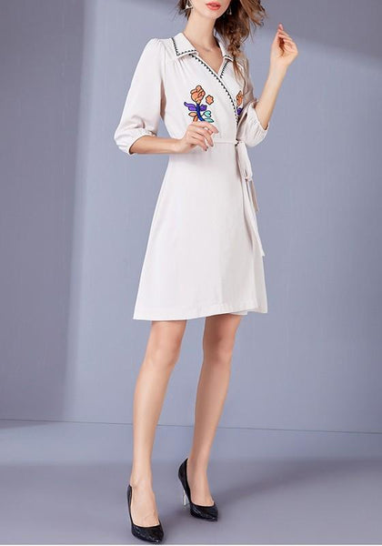 Casual Apricot Flowers Sashes Embroidery A-Line Casual Mini Dress