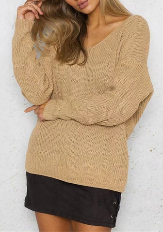 Casual Apricot Irregular Pleated Crop V-neck Long Sleeve Pullover Sweater