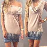 ByChicStyle Casual Apricot Patchwork Grey Irregular Boat Neck Sleeveless Mini Dress