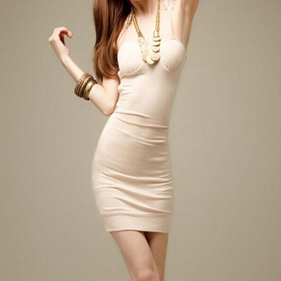 Apricot Patchwork Lace Hollow-out Spaghetti Straps V-neck Sleeveless Bodycon Club Mini Dress