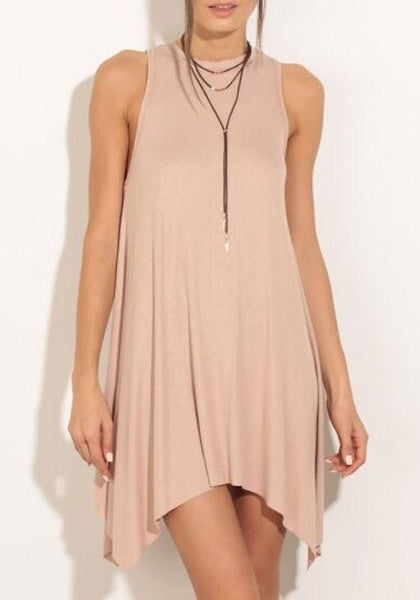 Casual Apricot-Pink Plain Irregular Draped Backless Casual Boutique Trapeze Mini Dress