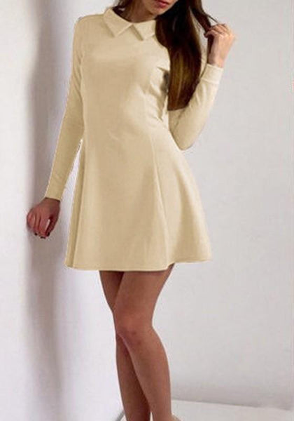 Streetstyle  Casual Apricot Plain Draped Turndown Collar Fashion Cotton Blend Mini Dress