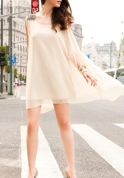 Casual Apricot Plain Irregular Draped Round Neck Sleeveless Mini Dress