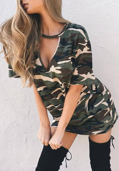 Casual Army Green Camouflage Print Cut Out Deep V Casual Mini Dress